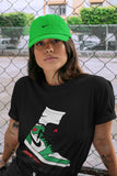 Air Jordan 1 Retro High OG Lucky Green and White Sneaker Crew Neck Short Sleeve Tees Jordan Gang Black T Shirt S 4