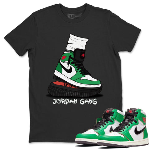 Air Jordan 1 Retro High OG Lucky Green and White Sneaker Crew Neck Short Sleeve Tees Jordan Gang Black T Shirt S