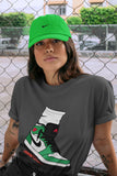 Air Jordan 1 Retro High OG Lucky Green and White Sneaker Crew Neck Short Sleeve Tees Jordan Gang Cool Grey T Shirt S 4