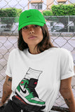 Air Jordan 1 Retro High OG Lucky Green and White Sneaker Crew Neck Short Sleeve Tees Jordan Gang White T Shirt S 4