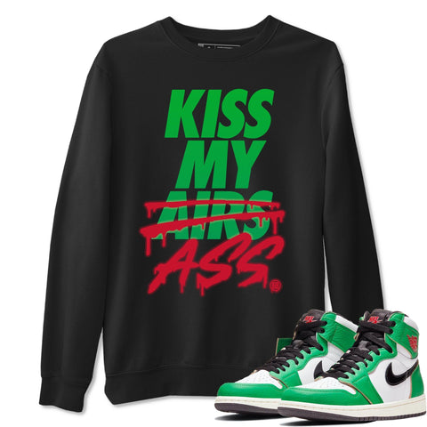 Air Jordan 1 Retro High OG Lucky Green Sneaker Crew Neck Long Sleeve Pullover Kiss My Ass Black Sweatshirt S