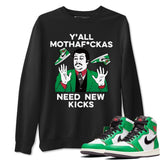 Air Jordan 1 Retro High OG Lucky Green Sneaker Crew Neck Long Sleeve Pullover Outfits Y'all Need New Kicks Black Sweatshirt S
