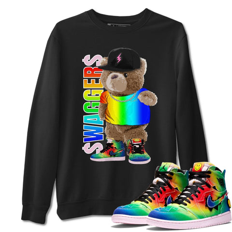 Bear Swaggers Unisex Sweatshirt - Air Jordan 1 Retro High J Balvin Queer Sneaker Matching Outfits Long Sleeve Black Pullover S