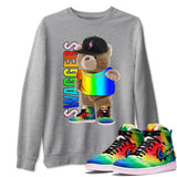 Bear Swaggers Unisex Sweatshirt - Air Jordan 1 Retro High J Balvin Queer Sneaker Matching Outfits Long Sleeve Heather Grey Pullover S
