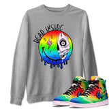 Dead Inside Unisex Sweatshirt - Air Jordan 1 Retro High J Balvin Queer Sneaker Matching Outfits Long Sleeve Heather Grey Pullover S