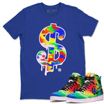 Dollar Camo T-Shirt - Air Jordan 1 Retro High J Balvin Queer Air Jordan 1 Unisex Crew Neck T Shirt Jordan 1 Retro High J Balvin Royal Blue Tee