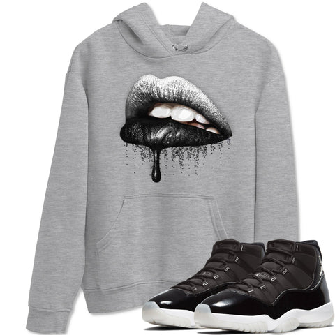 Air Jordan 11 Retro Jubilee 25th Anniversary Sneaker Long Sleeve Hoodies And Outfits Dripping Lips Heather Grey Unisex Hoodie S
