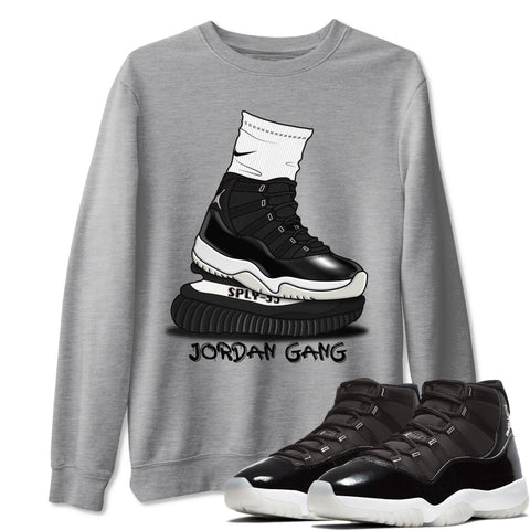 Jordan Gang Unisex Sweatshirt - Air Jordan 11 Retro Jubilee 25th Anniversary Sneaker Matching Outfits Long Sleeve Heather Grey Pullover S