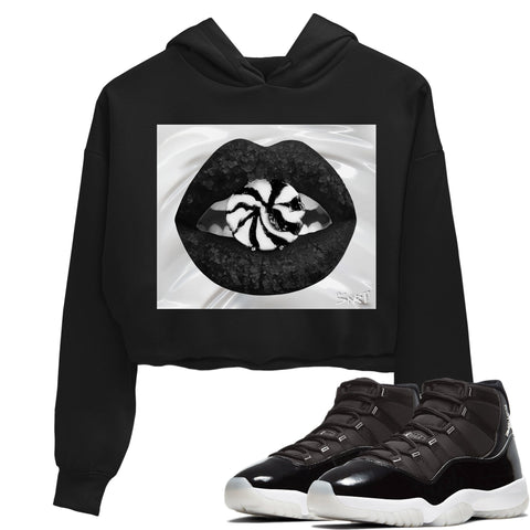 Air Jordan 11 Retro Jubilee 25th Anniversary Sneaker Long Sleeve Women Crop Hoodie And Outfits Lips Candy Black Hoodies S