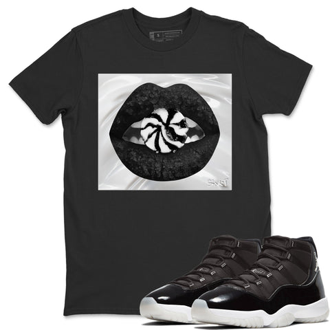 Lips Candy T-Shirt - Air Jordan 11 Retro Jubilee 25th Anniversary Air Jordan 11 Unisex Crew Neck T Shirt Jordan 11 Retro Jubilee Black Tee