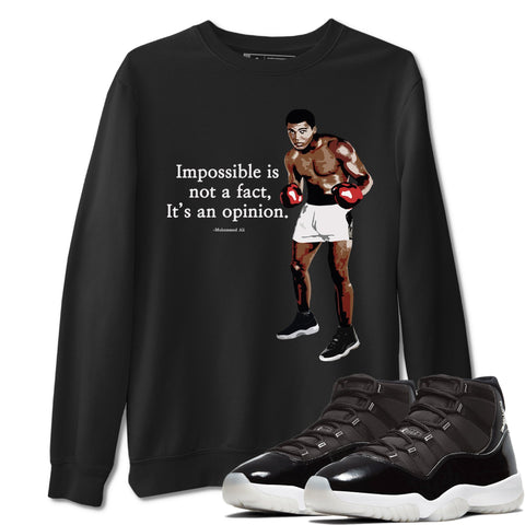 Muhammad Ali Unisex Sweatshirt - Air Jordan 11 Retro Jubilee 25th Anniversary Sneaker Matching Outfits Long Sleeve Black Pullover S