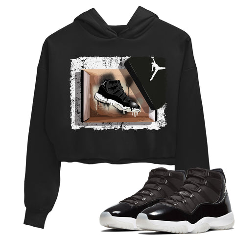 Air Jordan 11 Retro Jubilee 25th Anniversary Sneaker Long Sleeve Women Crop Hoodie And Outfits New Kicks Black Hoodies S