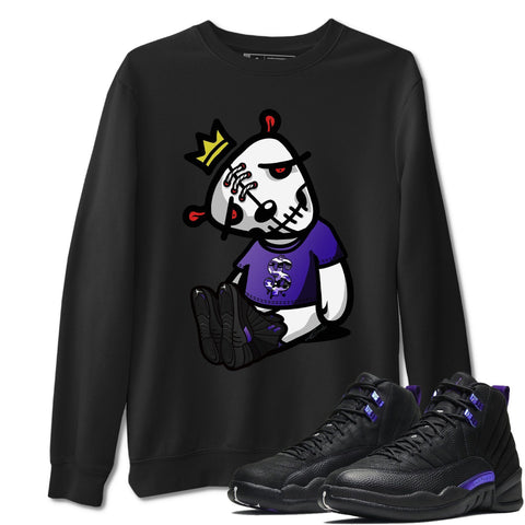 Dead Dolls Unisex Sweatshirt - Air Jordan 12 Retro Dark Purple Concord Sneaker Matching Outfits Long Sleeve Black Pullover S