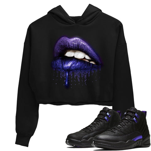 Air Jordan 12 Dark Black Purple Concord Sneaker Long Sleeve Women Crop Hoodie And Outfits Dripping Lips Black Hoodies S