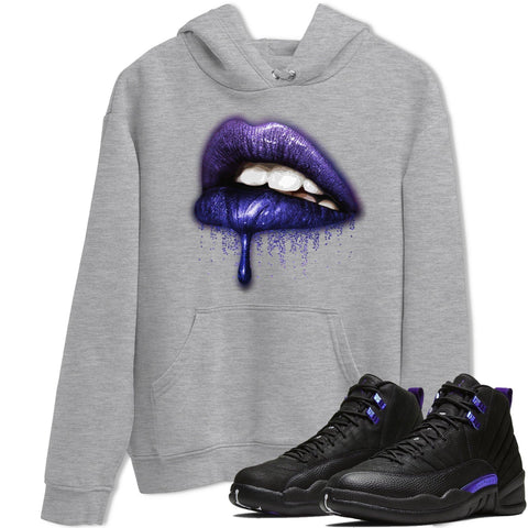 Air Jordan 12 Dark Purple Black Color Concord Sneaker Long Sleeve Unisex Hoodies And Outfits Dripping Lips Black Pullover S