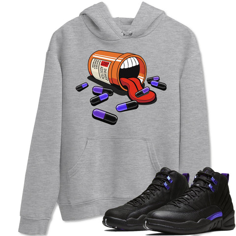 Air Jordan 12 Dark Purple Concord Sneaker Long Sleeve Unisex Hoodies And Outfits Sneaker Addiction Heather Grey Pullover S