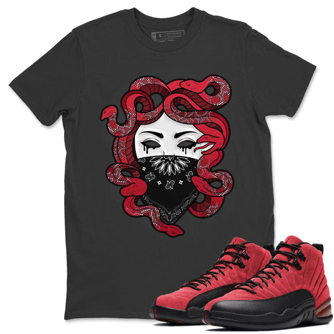 Medusa T-Shirt - Air Jordan 12 Retro Reverse Flu Game Air Jordan 12 Red Black Unisex Crew Neck T Shirt Reverse Flu Game 12s Black Tee