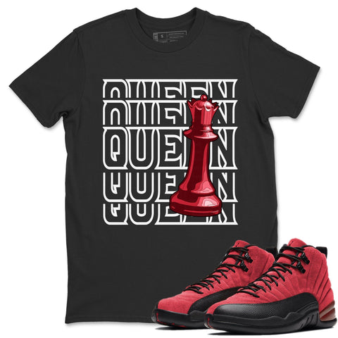Queen T-Shirt - Air Jordan 12 Retro Reverse Flu Game Air Jordan 12 Red Black Unisex Crew Neck T Shirt Reverse Flu Game 12s Black Tee