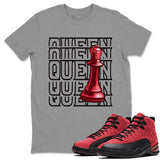 Queen T-Shirt - Air Jordan 12 Retro Reverse Flu Game Air Jordan 12 Red Black Unisex Crew Neck T Shirt Reverse Flu Game 12s Heather Grey Tee