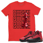Queen T-Shirt - Air Jordan 12 Retro Reverse Flu Game Air Jordan 12 Red Black Unisex Crew Neck T Shirt Reverse Flu Game 12s Red Tee