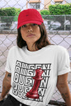 Queen T-Shirt - Air Jordan 12 Retro Reverse Flu Game Air Jordan 12 Red Black Unisex Crew Neck T Shirt Reverse Flu Game 12s White Tee 4