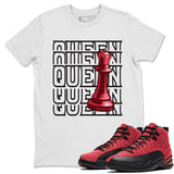 Queen T-Shirt - Air Jordan 12 Retro Reverse Flu Game Air Jordan 12 Red Black Unisex Crew Neck T Shirt Reverse Flu Game 12s White Tee