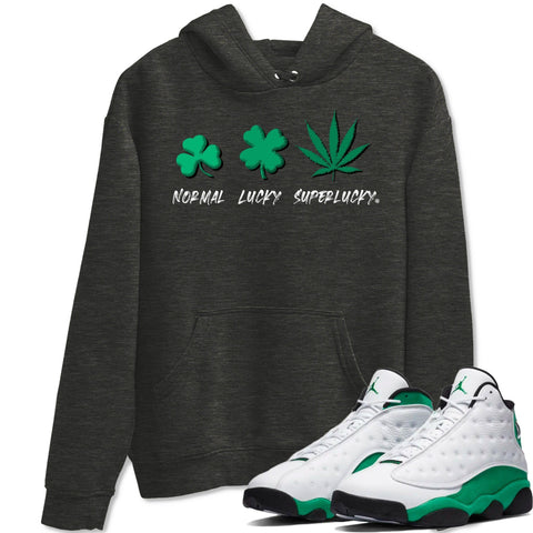 Super Lucky Hoodie - Air Jordan 13 Lucky Green Air Jordan 13 Hoodie Jordan 13 Lucky Green Charcoal Heather S Sneaker Matching Outfit Image