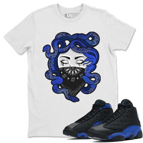Medusa T-Shirt - Air Jordan 13 Retro Black Hyper Royal Air Jordan 13 Unisex Crew Neck T Shirt Jordan 13 Retro Hyper Royal White Tee