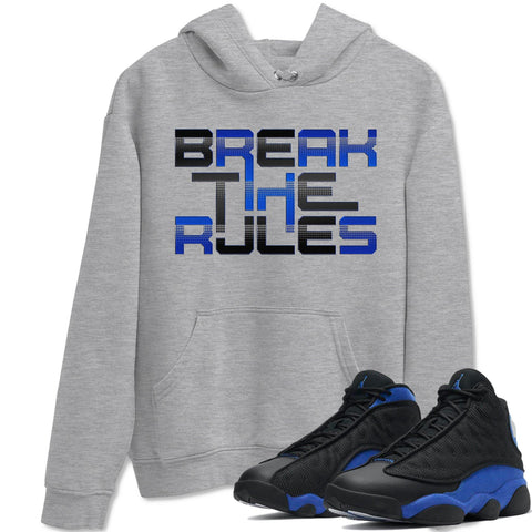 Break The Rules Unisex Hoodie - Air Jordan 13 Retro Hyper Royal Sneaker Matching Outfits Long Sleeve Heather Grey Hoodies S