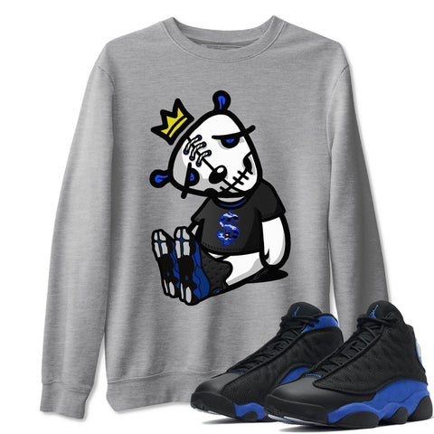 Dead Dolls Unisex Sweatshirt - Air Jordan 13 Retro High Hyper Royal Sneaker Matching Outfits Long Sleeve Heather Grey Pullover S