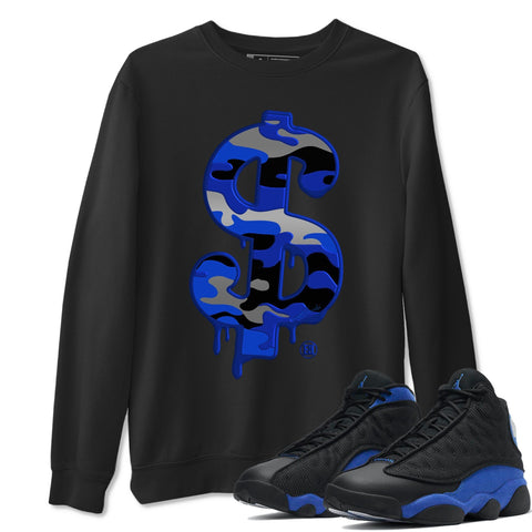 Dollar Camo Unisex Sweatshirt - Air Jordan 13 Retro High Hyper Royal Sneaker Matching Outfits Long Sleeve Black Pullover S