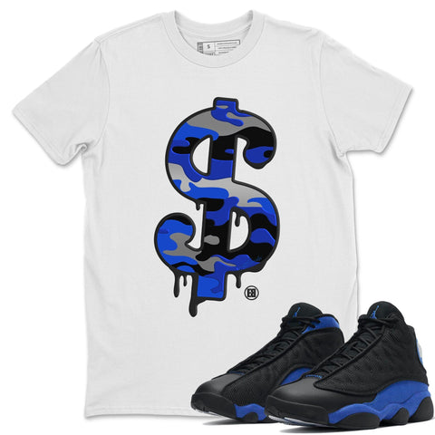 Dollar Camo T-Shirt - Air Jordan 13 Retro Black Hyper Royal Air Jordan 13 Unisex Crew Neck T Shirt Jordan 13 Retro Hyper Royal White Tee