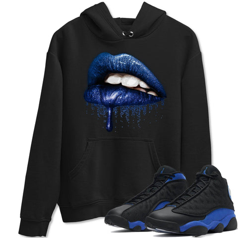 Dripping Lips Unisex Hoodie - Air Jordan 13 Retro Hyper Royal Sneaker Matching Outfits Long Sleeve Black Hoodies S