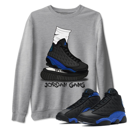 Jordan Gang Unisex Sweatshirt - Air Jordan 13 Retro High Hyper Royal Sneaker Matching Outfits Long Sleeve Heather Grey Pullover S