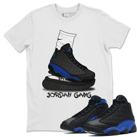 Jordan Gang T-Shirt - Air Jordan 13 Retro Black Hyper Royal Air Jordan 13 Unisex Crew Neck T Shirt Jordan 13 Retro Hyper Royal White Tee