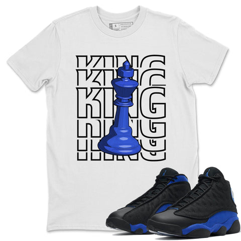 King T-Shirt - Air Jordan 13 Retro Black Hyper Royal Air Jordan 13 Unisex Crew Neck T Shirt Jordan 13 Retro Hyper Royal White Tee