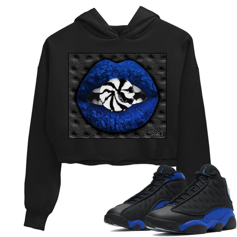 Air Jordan 13 Retro Black Hyper Royal Sneaker Long Sleeve Women Crop Hoodie And Outfits Lips Candy Black Hoodies S