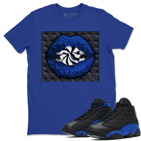Lips Candy T-Shirt - Air Jordan 13 Retro Black Hyper Royal Air Jordan 13 Unisex Crew Neck T Shirt Jordan 13 Retro Hyper Royal Royal Blue Tee