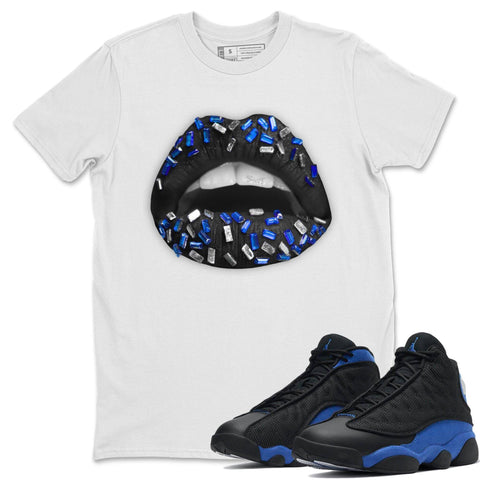 Lips Jewel T-Shirt - Air Jordan 13 Retro Black Hyper Royal Air Jordan 13 Unisex Crew Neck T Shirt Jordan 13 Retro Hyper Royal White Tee