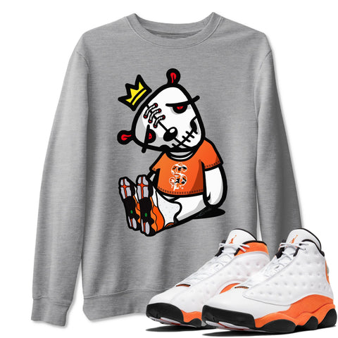 Dead Dolls Unisex Sweatshirt - Air Jordan 13 Retro Starfish White Orange Black Sneaker Matching Outfits Starfish 13s Long Sleeve Heather Grey AJ13 Pullover S