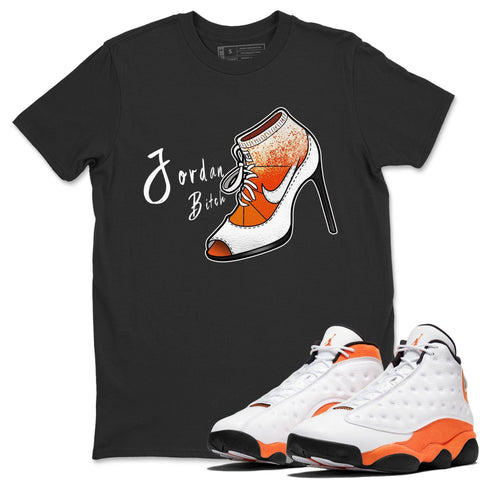 Air Jordan 13 Retro Starfish Sneaker Crew Neck Unisex T Shirt Matching Outfits AJ13 Orange Jordan Bitch Short Sleeve Tees 13s White Orange Black Image Black S