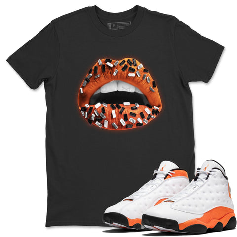 Air Jordan 13 Retro Starfish Sneaker Crew Neck Unisex T Shirt Matching Outfits AJ13 Orange Lips Jewel Short Sleeve Tees 13s White Orange Black Image Black S