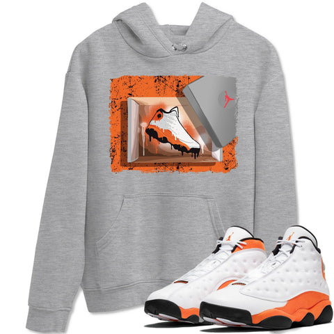 New Kicks Unisex Hoodies - Air Jordan 13 Retro Starfish Orange White Black Sneaker Matching Outfits Starfish 13s Long Sleeve Heather Grey AJ13 Hoodie S