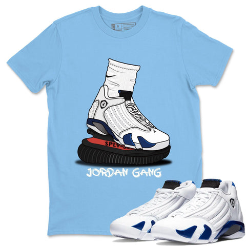 Air Jordan 14 Hyper Royal  Sneaker Shirts And Sneaker Matching Outfits Jordan Gang Carolina Blue T Shirt Image