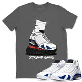 Air Jordan 14 Hyper Royal  Sneaker Shirts And Sneaker Matching Outfits Jordan Gang Carolina Cool Grey T Shirt Image