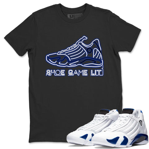 Air Jordan 14 Hyper Royal  Sneaker Shirts And Sneaker Matching Outfits Shoe Game Lit Black T Shirt Image