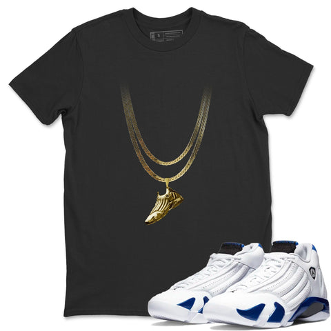 Air Jordan 14 Hyper Royal Sneaker Shirts And Sneaker Matching Outfits Shoe Pedant Black T Shirt Image