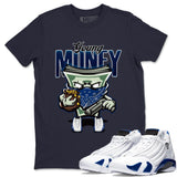 Air Jordan 14 Hyper Royal Sneaker Shirts And Sneaker Matching Outfits Young Money Navy T Shirt Image