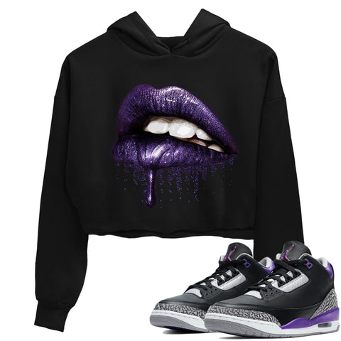 Air Jordan 3 Retro Black Court Purple Sneaker Crew Neck Long Sleeve Crop Womens Dripping Lips Crop Hoodie Black Hoodies S