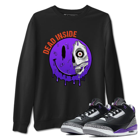 Air Jordan 3 Retro Black Court Purple Sneaker Sweatshirts And Sneaker Matching Outfits Dead Inside Black Long Sleeve Pullovers Image